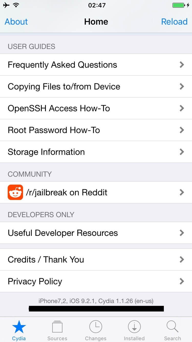 Cydia running on jailbroken iOS 9.2.1 on an iPhone 6.